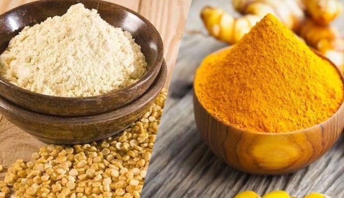 gram flour and turmeric
